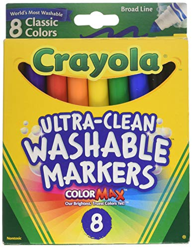 8 Count Classic Colors - Crayola Washable Markers, Broad Line, 8 Count, Pack of 2