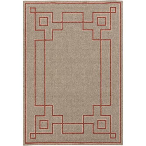 (Diva At Home 7.50' x 10.75' Mosaic Medley Desert Taupe and Cayenne Pepper Red Shed-Free Area Throw Rug)
