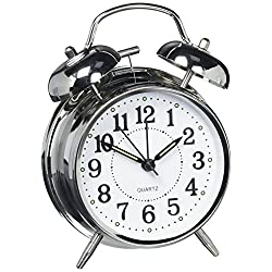 HITOTM 4 Silent Quartz Analog Twin Bell Alarm Clock with Nightlight and Loud Alarm (NO16)
