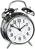 HITOTM 4 Silent Quartz Analog Twin Bell Alarm Clock with Nightlight and Loud Alarm (NO16)