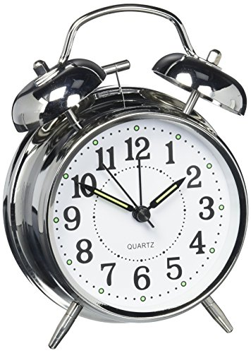 HITOTM 4 Silent Quartz Analog Twin Bell Alarm Clock with Nightlight and Loud Alarm (NO16) - Bell Key Wind Alarm Clock