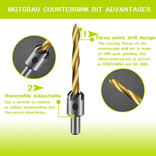 7PCS Countersink Drill Bit, Mgtgbao Titanium Plating Drill Bit Set Wood Drill Set Woodworking Countersink Chamfer, with One Hex Wrench for Wood Drilling or Woodworking Chamfer, 3-10mm Screw Size. by Mgtgbao (Image #2)
