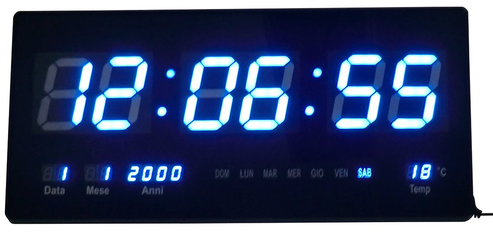 RELOJ DIGITAL DE PARED LED AZUL CON FECHA Y TEMPERATURA - MEDIDAS: 47 X 22 X 3 CM: Amazon.es: Hogar
