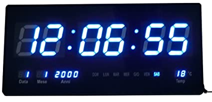 RELOJ DIGITAL DE PARED LED AZUL CON FECHA Y TEMPERATURA - MEDIDAS: 47 X 22