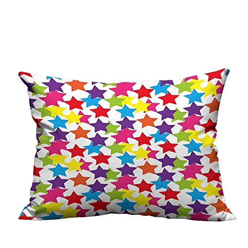 YouXianHome Home Decor Pillowcase Little Rainbow Colored Funky Stars Kids Nursery Boys Girls Room Art Print Multicolor Durable Polyester Fabric(Double-Sided Printing) 13.5x19 inch