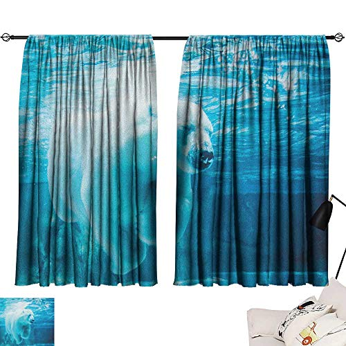 Bear décor Darkening Curtains Arctic Polar Bear Dipping into Water Swimming Ursus Maritimus Underwater View Curtain Door Panel Blue Pale Blue W72 x L72