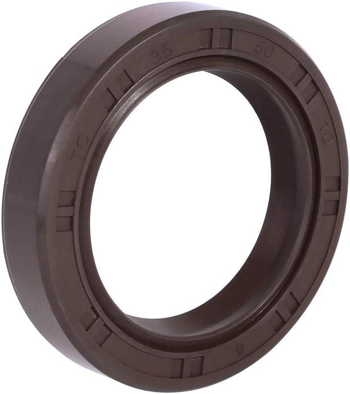 X AUTOHAUX 35mm x 50mm x 10mm Fluorine Rubber Double Lip TC Oil Shaft Seal Brown for Car
