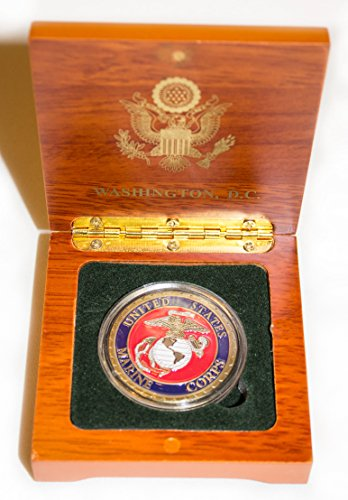 Colorful - Marine Corps Coin in Wood Box by Definitely Different