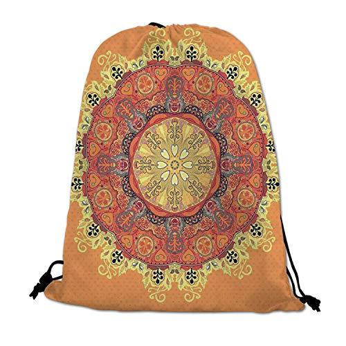 - Mandala Lightweight Drawstring Bag,Floral Mandala Pattern Leaves Kaleidoscope Art Ethnic Theme Zen Inspired for Travel Shopping,One_Size