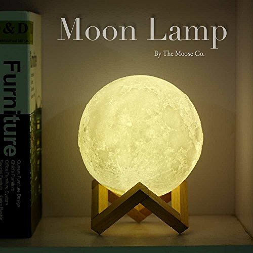Moon Lamp by The Moose Company | 3D Printed Glowing Astronomy light With Wood Stand | Dimmable LED Touch Control - (Night Light Musical Mirror)