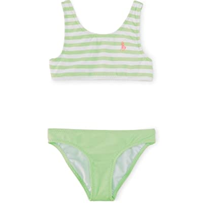 Ralph Lauren Girls Striped & Solid-Hued Two-Piece Swimwear green