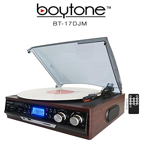 Boytone BT-17DJM 3-Speed Stereo Turntable, 2 Built in Speakers Digital LCD Display AM/FM Radio, USB/SD Slot, AUX+ MP3 & WMA Playback /Recorder & Headphone Jack + Remote Control by Boytone