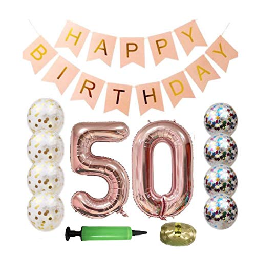 QTW 50th Birthday Party Supplies - Rose Gold 50th Birthday Balloon, 50th Birthday Banner, Confetti Balloon Decoration, Female 50th Birthday, use Them as Photo Props (Rose Gold 50) -