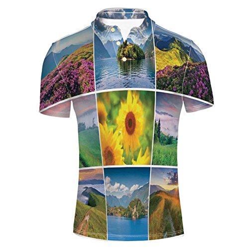 iPrint T-Shirts Square Framed Freshening Summer Landscapes Shirts for Mens - Jug Framed