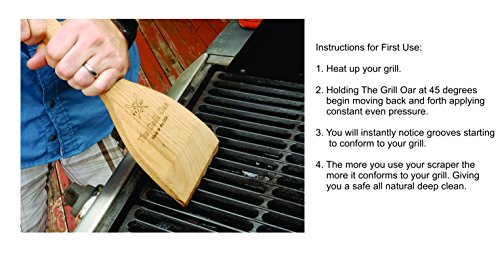 The Grill Oar - Wooden Grill Scraper and Cleaner, Premium Red Oak Wood, Cleans Top and Between Grates, Safe Replacement for Wire Bristle Brush, Made in The USA, Free Koozie Included! by Simply Better (Image #2)