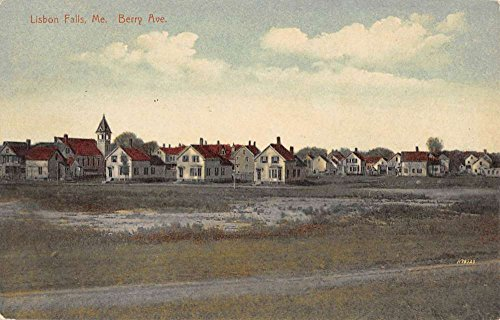 Lisbon Falls Maine Berry Avenue Street Scene Antique Postcard K90052