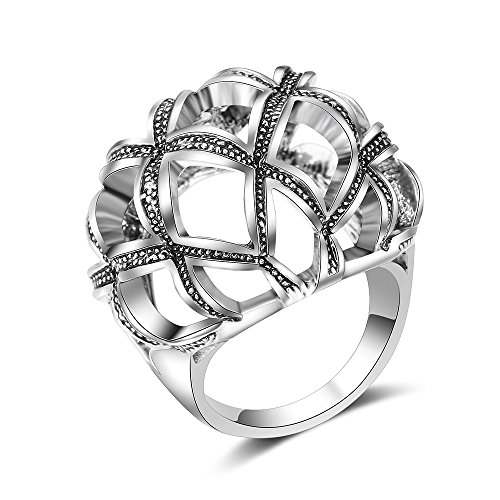 Aprilery Silver Vintage Fashion Rings Rhombic Hollow Womens Statement Rings Gifts Rings