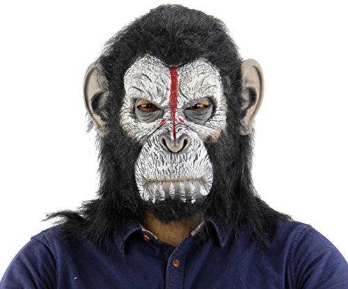 Scary Man Ape Head Mask, Deluxe Latex Halloween Costume Party Props Gorilla Headgear (One Size) ()