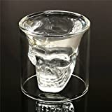 Set of 2 Crystal Skull Shotglass,2 PCS Skull Glass Cup,Double Layer Transparent Skull Pirate Shot Glasses Drink Cocktail Beer Cup,Wine Cup,Drinking Ware Mugs,Creative Halloween Mug 5.8oz,250ML