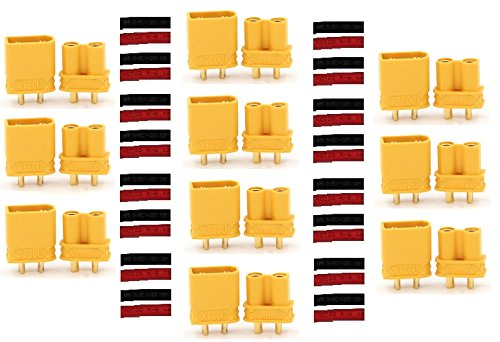 Finware 10 Pair Amass XT30U (XT30 Upgrade) Male Female Bullet Connectors Power Plugs with Heat Shrink for RC Lipo Battery