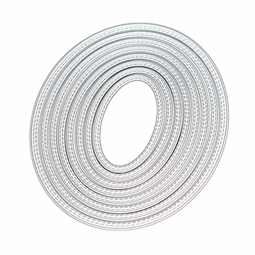 Kwan Crafts Large Size 15cm Double Sew Thread Oval Metal Die Cutting Dies for DIY Scrapbooking Photo Album Embossing by Kwan Crafts