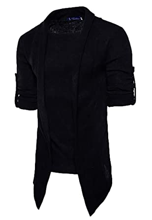 Papijam Mens Solid Knitted Rolled Up Sleeve Stylish Fit Cardigan