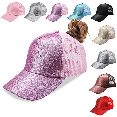 Bocianelli NeuFashion Ponycap Messy High Bun Ponytail Adjustable Mesh Trucker Baseball Cap Hat ()