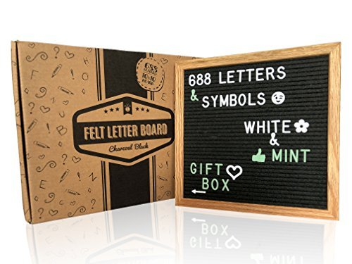 Changeable Felt Letter Board w/ gift box! This black letter board includes: solid oak 10X10 inch board + 688 plastic letters, symbols and emojis (WHITE & MINT colors) + 2 storage bags + gift (Choice Board)