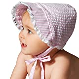 Huggalugs Baby Girls Light Pink Seersucker Bonnet with Eyelet Lace 18-24m