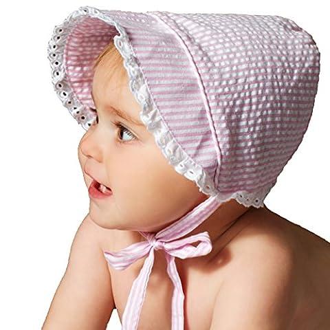 Huggalugs Baby Girls Light Pink Seersucker Bonnet with Eyelet Lace 3-6m - Striped Seersucker Cap