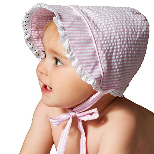 Huggalugs Baby Girls Light Pink Seersucker Bonnet with Eyelet Lace 18-24m -