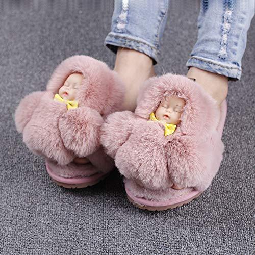 Sliders Fourrure Grande Dormir Femmes Damengxiang Fausse Pantoufles Hiver Taille Fluffy Appartements Maison Chaussures Peluche Bébé Mignon Accessoires Rqw4wF8