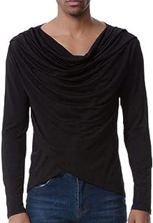 Huixin Camicia Elegante da Uomo con Collo Lungo Tops Speciale Skinny Design T-Shirt SL