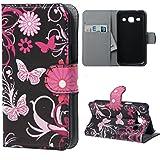 Samsung Core Plus Custodia Folio,Protettiva Custodia a portafoglio in Pelle per Samsung Galaxy Core Plus (GT-G3500/SM-G350/G3502) Case Cover Caso Guscio con carte di credito slot(Farfalla 02)