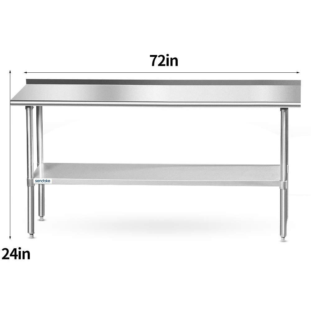 SENDAKE Commercial Stianless Steel Prep /& Work Table 24x72 inches,w//Backsplash Adjustable Heavy Duty Table for Kitchen and Restaurant