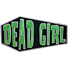 """[Single Count] Custom and Unique (4"""" to 2 1/4"""" Inches) Rectangle Spooky Coffin Dead Girl Text Iron On Embroidered Applique Patch {Black, Green & White Colors}"""
