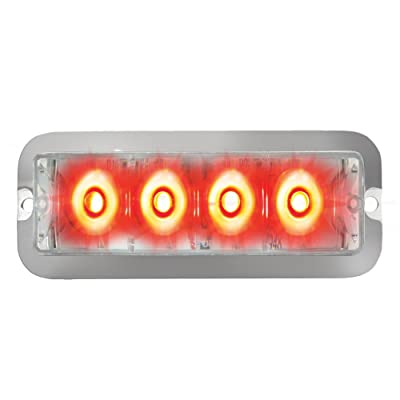 Grand General 76533 Red Medium Rectangular 4 LED Strobe Light with Clear Lens: Automotive