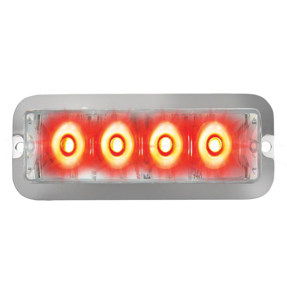 Grand General 76533 Red Medium Rectangular 4 LED Strobe Light with Clear Lens