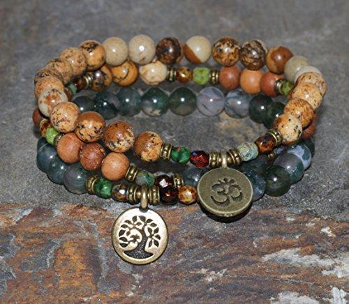 Moss Agate, Sandalwood & Picture Jasper Bracelet Set, Yoga Mala Beads, Womens Rustic Yoga Jewelry, Nature - Grounding - Emotional Balance