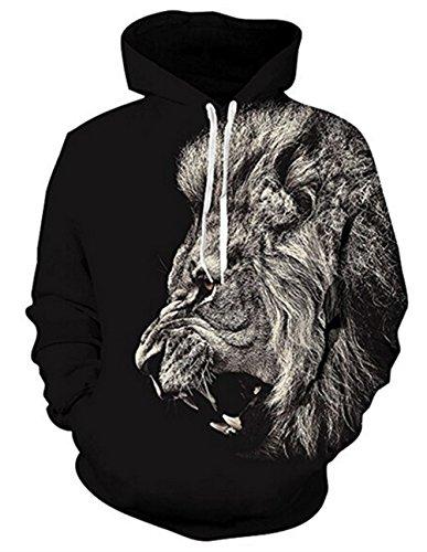 Uideazone Men Printed Lion Pullover Hoodie Sweatshirt Cool Coat Black