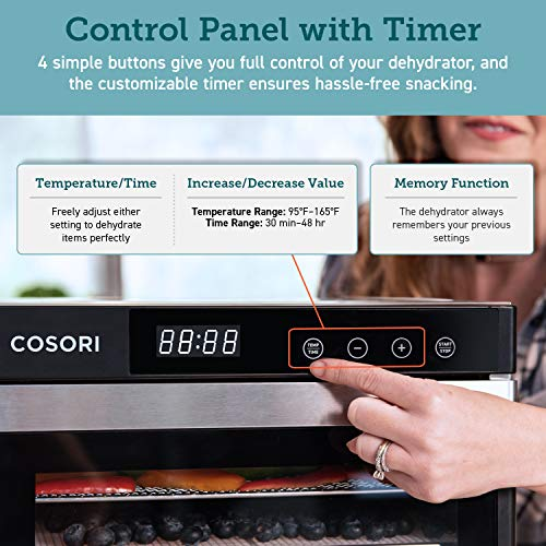 COSORI Premium Food Dehydrator Machine - 6 Stainless Steel Trays w/Digital Timer and Temperature Control