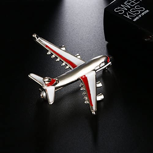 SODIAL Alloy Airplane Brooch Pins Enamel Red Plane Luxury Brooches For Women Costumes Aircraft Brooch