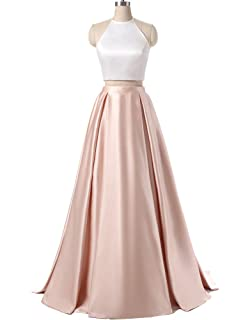 AnKang Womens Formal Halter Two Pieces Prom Dress Party Gowns With Pockets 2018