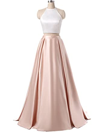Ankang Womens Formal Halter Two Pieces Prom Dress Party Gowns With Pockets 2016 Champagne US2