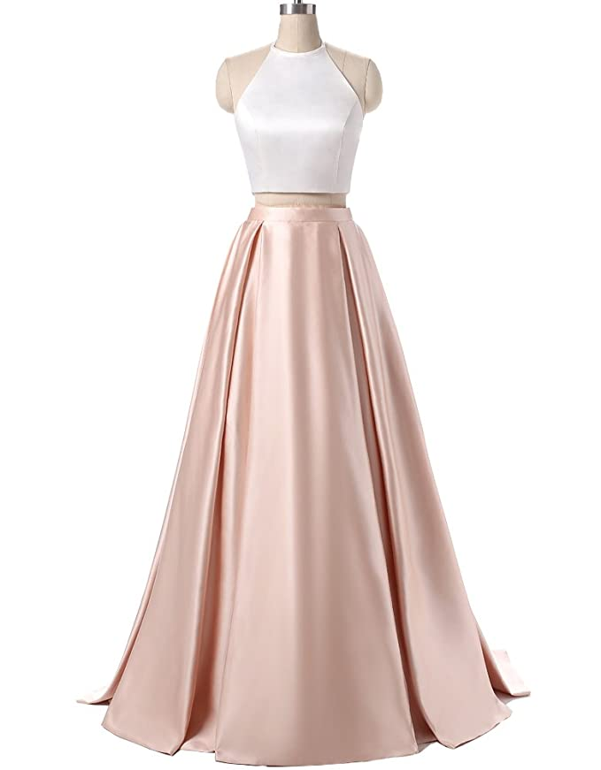 Amazon.com: AnKang Women\'s Formal Halter Two Pieces Prom Dress Party ...