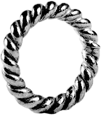 Black Rhodium Overlay Closed Jump Ring Twisted JCR-102-6MM