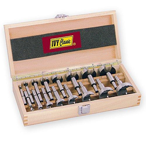 IVY Classic 46184 16-Piece Forstner Bit Set, High-Speed Steel, Wooden Case