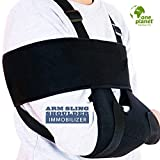 One Planet Products Medical Arm Sling Shoulder Immobilizer– Rotator Cuff Support Brace – Ergonomic Adjustable Black Strap For Men, Women & Kids