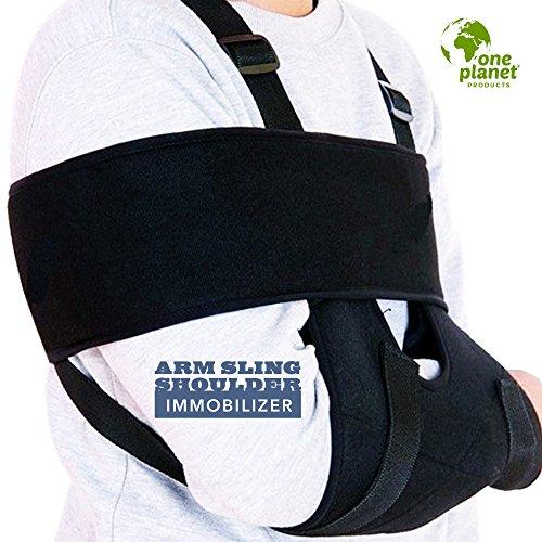 (One Planet Products Medical Arm Sling Shoulder Immobilizer– Rotator Cuff Support Brace – Ergonomic Adjustable Black Strap for Men, Women & Kids)