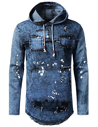 Hoodies Jeans - URBANCREWS Mens Hipster Denim Patch Long Sleeve Hoodie Sweatshirts MBLUE, L
